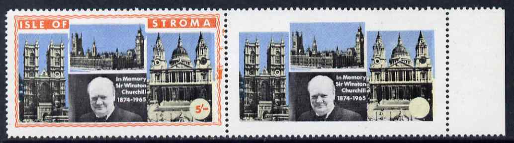 Stroma 1968 Churchill 5s marginal pair with orange frame (Island name & value) completely omitted from right hand stamp, slight offset otherwise unmounted and spectacular