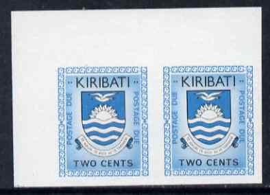 Kiribati 1981 Postage Due 1981 2c black & greenish-blue in superb unmounted mint IMPERF pair, SG D2var
