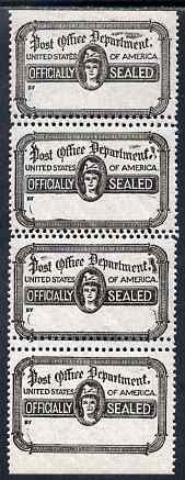 Cinderella - United States 1919 PO Dept 'Officially Sealed' label in vert strip of 4 with horiz perfs between doubled