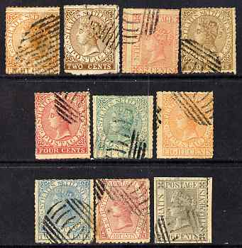 Malaya - Straits Settlements 1867 QV selection of 10 litho forgeries all