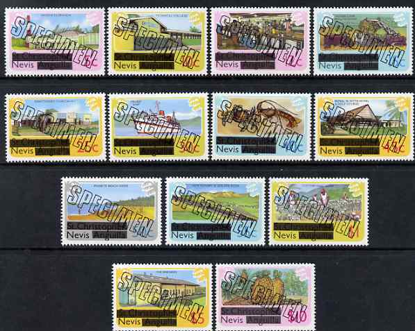 Nevis 1980 Obliterated definitive set complete 5c to $10 opt