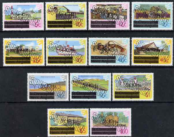 St Kitts 1980 definitive set complete 5c to $10 opt