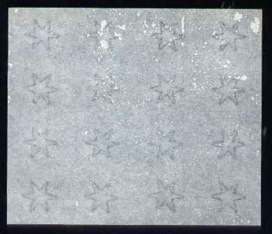 Perkins Bacon small star watermarked paper, piece with 16 stars (4 x 4) ungummed.  Paper as used for Antigua, Barbados, Grenada, Queensland, St Lucia, St Vincent and Turk...