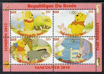 Benin 2009 Pooh Bear & Olympics #01 perf sheetlet containing 4 values unmounted mint. Note this item is privately produced and is offered purely on its thematic appeal