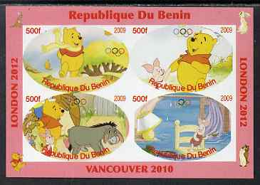 Benin 2009 Pooh Bear & Olympics #01 imperf sheetlet containing 4 values unmounted mint. Note this item is privately produced and is offered purely on its thematic appeal