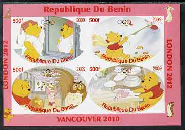 Benin 2009 Pooh Bear & Olympics #02 imperf sheetlet containing 4 values unmounted mint. Note this item is privately produced and is offered purely on its thematic appeal, stamps on films, stamps on cinema, stamps on movies, stamps on bears, stamps on fairy tales, stamps on olympics, stamps on owls
