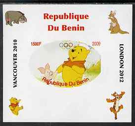 Benin 2009 Pooh Bear & Olympics #01 individual imperf deluxe sheet unmounted mint. Note this item is privately produced and is offered purely on its thematic appeal, stamps on films, stamps on cinema, stamps on movies, stamps on bears, stamps on fairy tales, stamps on olympics