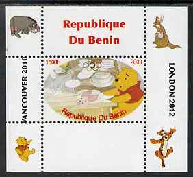 Benin 2009 Pooh Bear & Olympics #03 individual perf deluxe sheet unmounted mint. Note this item is privately produced and is offered purely on its thematic appeal, stamps on films, stamps on cinema, stamps on movies, stamps on bears, stamps on fairy tales, stamps on olympics