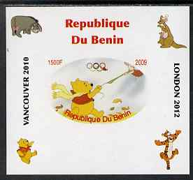 Benin 2009 Pooh Bear & Olympics #04 individual imperf deluxe sheet unmounted mint. Note this item is privately produced and is offered purely on its thematic appeal