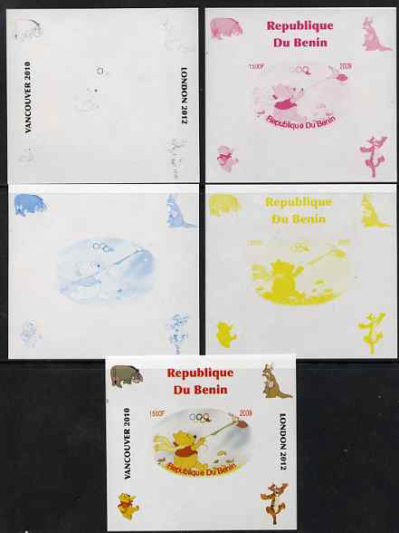Benin 2009 Pooh Bear & Olympics #04 individual deluxe sheet the set of 5 imperf progressive proofs comprising the 4 individual colours plus all 4-colour composite, unmounted mint