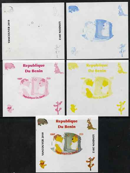 Benin 2009 Pooh Bear & Olympics #05 individual deluxe sheet the set of 5 imperf progressive proofs comprising the 4 individual colours plus all 4-colour composite, unmounted mint