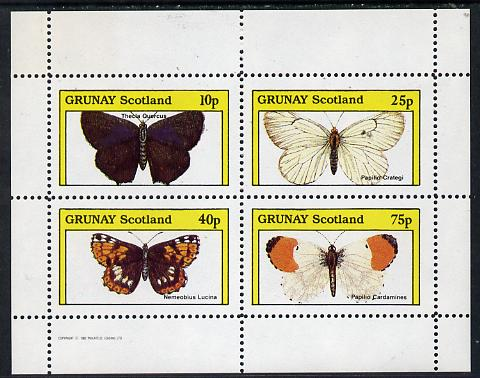 Grunay 1982 Butterflies (Thecla Quercus etc) perf  set of 4 values (10p to 75p) unmounted mint, stamps on butterflies