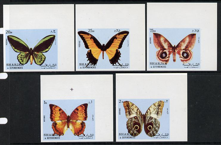 Sharjah 1972 Butterflies imperf set of 5 unmounted mint (Mi 1018-22B)