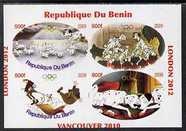 Benin 2009 Disney's 101 Dalmations & Olympics #01 imperf sheetlet containing 4 values unmounted mint. Note this item is privately produced and is offered purely on its thematic appeal