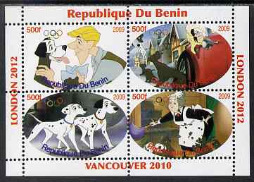 Benin 2009 Disney's 101 Dalmations & Olympics #02 perf sheetlet containing 4 values unmounted mint. Note this item is privately produced and is offered purely on its thematic appeal