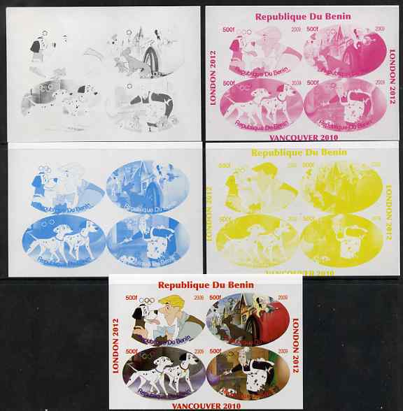 Benin 2009 Disney's 101 Dalmations & Olympics #02 sheetlet containing 4 values, the set of 5 imperf progressive proofs comprising the 4 individual colours plus all 4-colour composite, unmounted mint