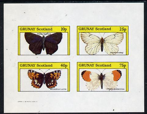 Grunay 1982 Butterflies (Thecla Quercus etc) imperf  set of 4 values (10p to 75p) unmounted mint