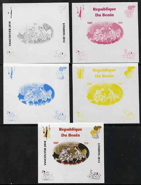 Benin 2009 Disney's 101 Dalmations & Olympics #03 individual deluxe sheet the set of 5 imperf progressive proofs comprising the 4 individual colours plus all 4-colour composite, unmounted mint