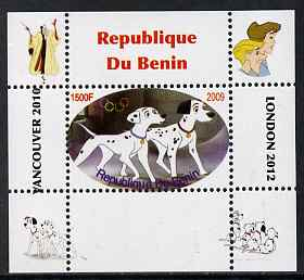 Benin 2009 Disney's 101 Dalmations & Olympics #05 individual perf deluxe sheet unmounted mint. Note this item is privately produced and is offered purely on its thematic appeal