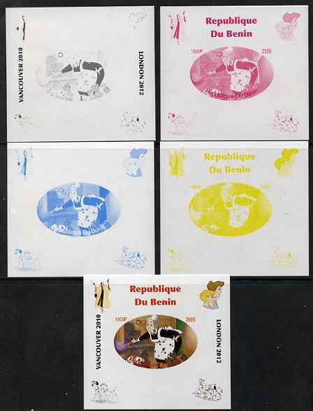 Benin 2009 Disney's 101 Dalmations & Olympics #08 individual deluxe sheet the set of 5 imperf progressive proofs comprising the 4 individual colours plus all 4-colour composite, unmounted mint