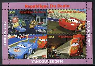 Benin 2009 Disney's Lightning McQueen & Olympics #01 perf sheetlet containing 4 values unmounted mint. Note this item is privately produced and is offered purely on its thematic appeal