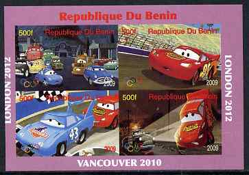 Benin 2009 Disney's Lightning McQueen & Olympics #01 imperf sheetlet containing 4 values unmounted mint. Note this item is privately produced and is offered purely on its thematic appeal