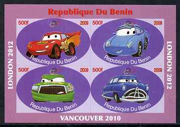 Benin 2009 Disney's Lightning McQueen & Olympics #02 imperf sheetlet containing 4 values unmounted mint. Note this item is privately produced and is offered purely on its thematic appeal
