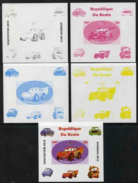 Benin 2009 Disney's Lightning McQueen & Olympics #02 individual deluxe sheet the set of 5 imperf progressive proofs comprising the 4 individual colours plus all 4-colour composite, unmounted mint