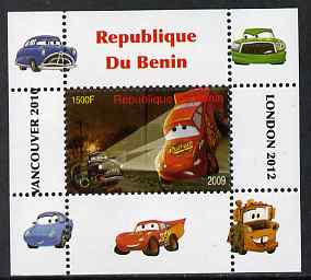 Benin 2009 Disney's Lightning McQueen & Olympics #05 individual perf deluxe sheet unmounted mint. Note this item is privately produced and is offered purely on its thematic appeal, stamps on films, stamps on cinema, stamps on movies, stamps on cars, stamps on olympics, stamps on disney, stamps on cartoons