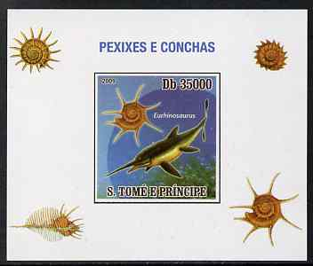 St Thomas & Prince Islands 2009 Dinosaurs (Fish) & Shells #04 individual imperf deluxe sheet unmounted mint. Note this item is privately produced and is offered purely on its thematic appeal