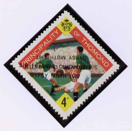 Thomond 1967 Football 4d (Diamond-shaped) with 'Sir Francis Chichester, Gypsy Moth 1967' overprint doubled, one inverted, unmounted mint but slight set-off on gummed side