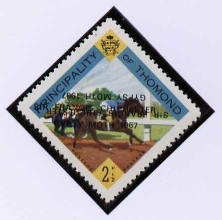 Thomond 1967 Horse Racing 2.5d (Diamond-shaped) with 'Sir Francis Chichester, Gypsy Moth 1967' overprint doubled, one inverted, unmounted mint but slight set-off on gummed side