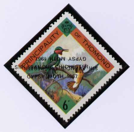 Thomond 1967 Humming Birds 6d (Diamond-shaped) with 'Sir Francis Chichester, Gypsy Moth 1967' overprint doubled, one inverted, unmounted mint but slight set-off on gummed side