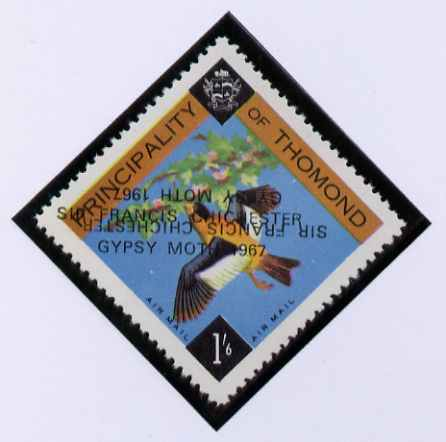 Thomond 1967 Bird 1s6d (Diamond-shaped) with 'Sir Francis Chichester, Gypsy Moth 1967' overprint doubled, one inverted, unmounted mint but slight set-off on gummed side
