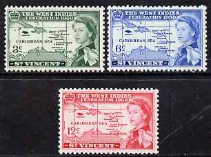 St Vincent 1958 British Caribbean Federation set of 3 unmounted mint SG 201-3