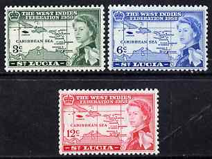 St Lucia 1958 British Caribbean Federation set of 3 unmounted mint SG 185-7