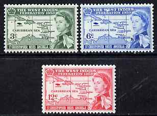St Kitts-Nevis 1958 British Caribbean Federation set of 3 unmounted mint SG 120-2