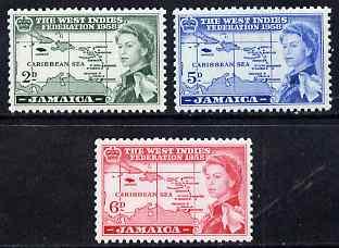 Jamaica 1958 British Caribbean Federation set of 3 unmounted mint SG 175-7