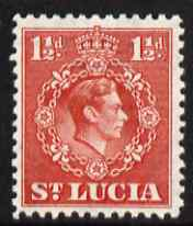St Lucia 1938-48 KG6 1.5d scarlet perf 12.5 unmounted mint SG 130a