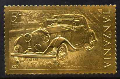 Tanzania 1986 Centenary of Motoring 5s Rolls Royce embossed in 22k gold foil unmounted mint as SG 457