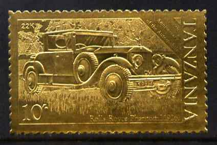 Tanzania 1986 Centenary of Motoring 10s Rolls Royce embossed in 22k gold foil unmounted mint as SG 458