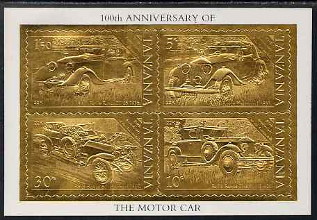 Tanzania 1986 Centenary of Motoring perf m/sheet embossed in 22k gold foil unmounted mint similar to SG MS 460