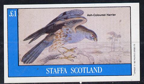 Staffa 1982 Birds of Prey #09 (Ash Harrier) imperf souvenir sheet (�1 value) unmounted mint