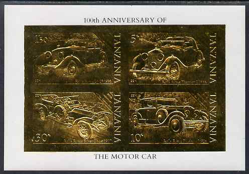 Tanzania 1986 Centenary of Motoring imperf m/sheet embossed in 22k gold foil unmounted mint similar to SG MS 460