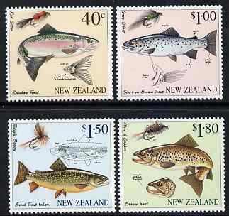 New Zealand 1997 Fly Fishing perf set of 4 unmounted mint, SG 2082-5, stamps on fishing, stamps on insects