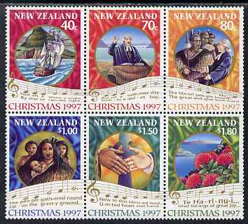 New Zealand 1997 Christmas perf se-tenant block of 6 unmounted mint, SG 2097-2102