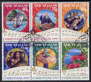 New Zealand 1997 Christmas perf se-tenant block of 6 fine used, SG 2097-2102