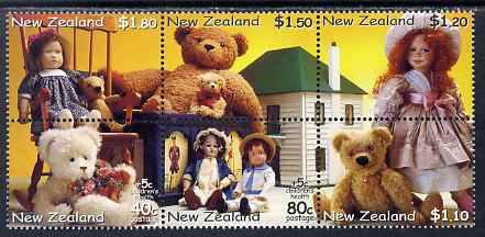 New Zealand 2000 Health - Teddy Bears & Dolls perf se-tenant block of 6 unmounted mint, SG 2360-65