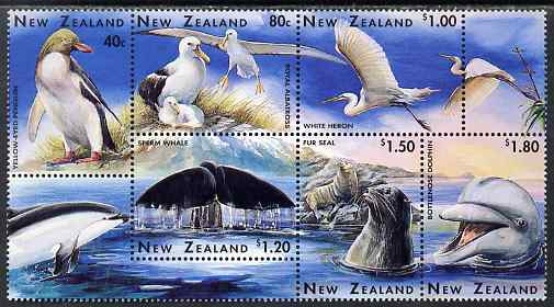 New Zealand 1996 Marine Wildlife perf se-tenant block of 6 unmounted mint, SG 1992-97