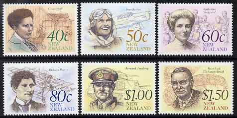 New Zealand 1990 NZ Heritage - 5th issue - Famous New Zealanders perf set of 6 unmounted mint, SG 1548-53